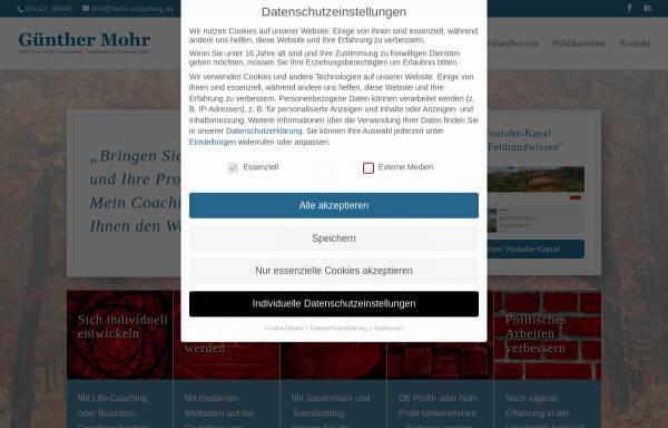 Vorschau von www.mohr-coaching.de, Günther Mohr - Institut für Coaching, Training und Consulting