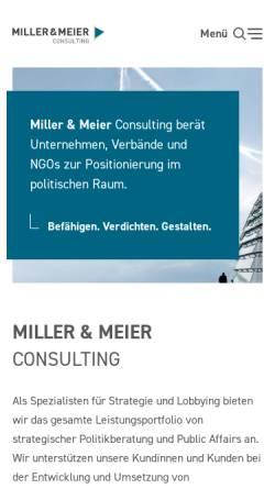 Vorschau der mobilen Webseite www.miller-meier.de, miller und meier Politik- und Projektberatung