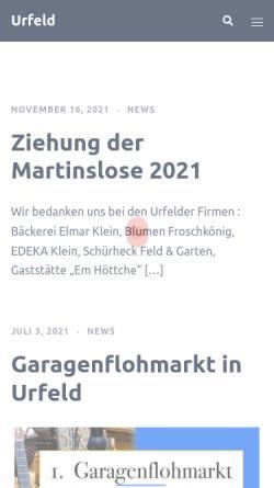 Vorschau der mobilen Webseite www.urfeld.de, Wesseling-Urfeld am Rhein