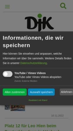 Vorschau der mobilen Webseite www.djk-wuerzburg.de, Sportbund Deutsche Jugendkraft Würzburg e.V.