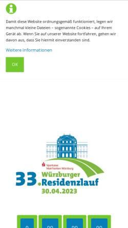 Vorschau der mobilen Webseite www.residenzlauf.de, Veranstaltergemeinschaft Würzburger Residenzlauf