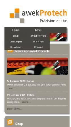 Vorschau der mobilen Webseite awek-protech.de, AWEK Protech GmbH