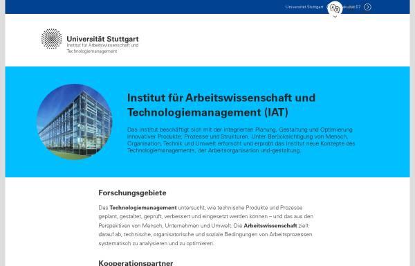 Vorschau von www.iat.uni-stuttgart.de, UNI Stuttgart - Institut für Arbeitswissenschaft und Technologiemanagement [IAT]