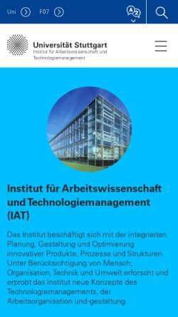 Vorschau der mobilen Webseite www.iat.uni-stuttgart.de, UNI Stuttgart - Institut für Arbeitswissenschaft und Technologiemanagement [IAT]