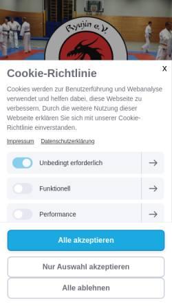 Vorschau der mobilen Webseite www.ryujin.de, Ryujin e.V. Karlsruhe