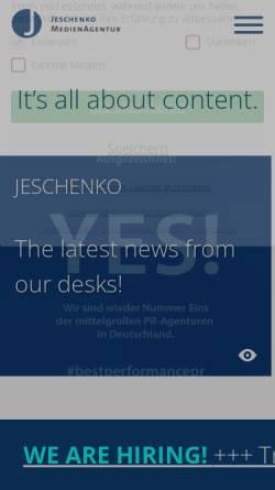 Vorschau der mobilen Webseite www.jeschenko.de, Jeschenko MedienAgentur Köln GmbH