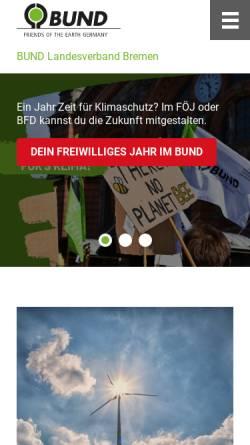 Vorschau der mobilen Webseite www.bund-bremen.net, BUND für Umwelt und Naturschutz - Landesverband Bremen e.V.