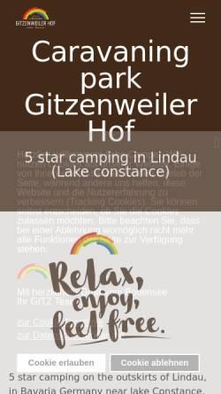 Vorschau der mobilen Webseite www.gitzenweiler-hof.de, Campingplatz Gitzenweiler Hof
