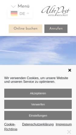 Vorschau der mobilen Webseite www.alte-post-lindau.de, Gasthof Alte Post