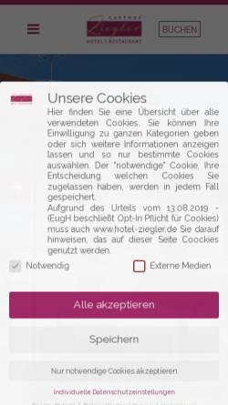 Vorschau der mobilen Webseite hotel-ziegler.de, Hotel-Gasthof Ziegler