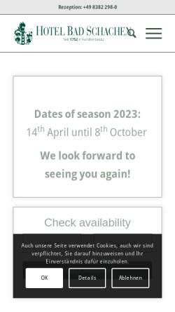 Vorschau der mobilen Webseite www.badschachen.de, Hotel Bad Schachen