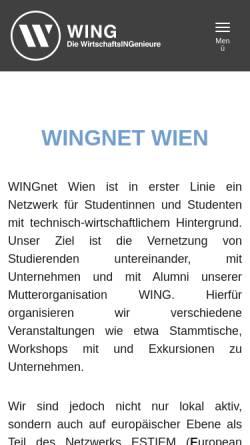 Vorschau der mobilen Webseite www.wingnet.at, WINGnet Wien - Studentennetzwerk an der TU Wien