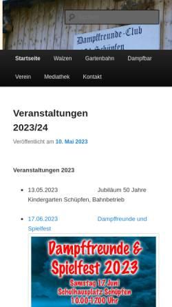 Vorschau der mobilen Webseite www.dampffreunde.ch, Dampffreundeclub Schüpfen