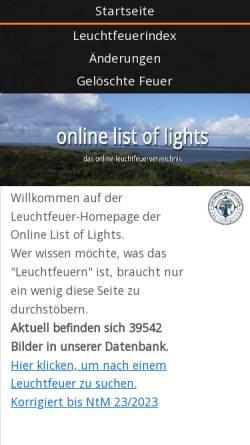 Vorschau der mobilen Webseite www.trabas.de, Trabas Leuchtfeuerverzeichnis