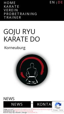 Vorschau der mobilen Webseite www.karate-korneuburg.at, Jundokan Austria - Sportunion Korneuburg