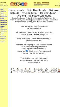 Vorschau der mobilen Webseite www.xn--karate-mnchen-schwabing-jpc.de, MTSV Schwabing e.V.