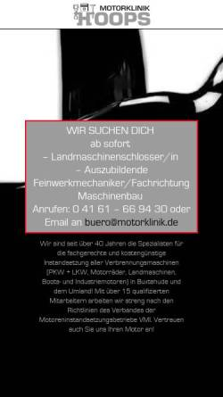Vorschau der mobilen Webseite www.motorklinik.de, Motorklinik W. Hoops GmbH