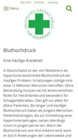 Vorschau der mobilen Webseite dgk.de, DGK - Bluthochdruck