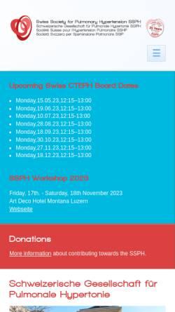 Vorschau der mobilen Webseite www.saph.ch, Schweizerische Arbeitsgruppe für Pulmonale Hypertonie