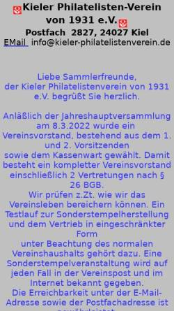 Vorschau der mobilen Webseite kieler-philatelistenverein.de, Kieler Philatelisten-Verein von 1931 e. V.