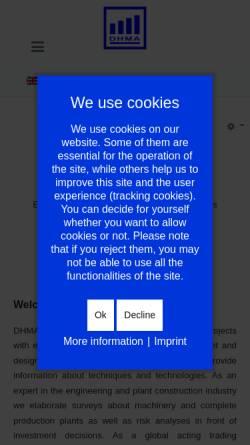 Vorschau der mobilen Webseite www.dhma.de, DHMA Dienstleistung und Handel im Maschinen- und Anlagenbau e.K.