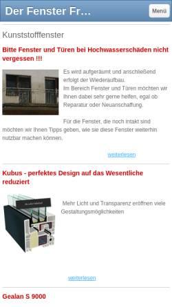 Vorschau der mobilen Webseite www.der-fenster-frank.de, Guido Frank Fenstertechnik -