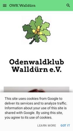 Vorschau der mobilen Webseite www.odenwaldklub-wallduern.de, Odenwaldklub Ortsgruppe Walldürn