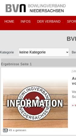 Vorschau der mobilen Webseite www.bowling-weser-ems.de, Bowling Bezirk Weser Ems