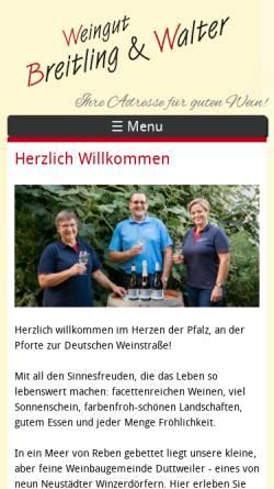 Vorschau der mobilen Webseite www.breitlingwein.de, Weingut Breitling und Walter