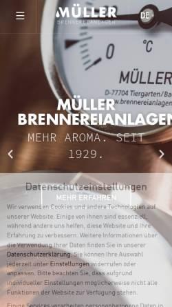 Vorschau der mobilen Webseite www.brennereianlagen.de, Müller GmbH - Brennereianlagen