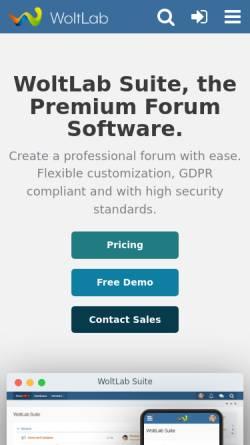 Vorschau der mobilen Webseite www.woltlab.com, WoltLab GmbH