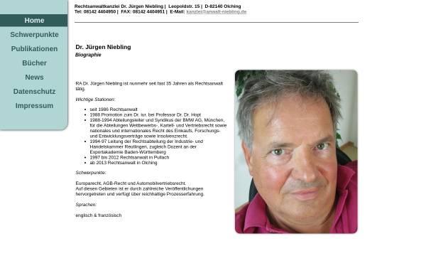 Vorschau von www.anwalt-niebling.de, Rechtsanwalt Dr. Jürgen Niebling