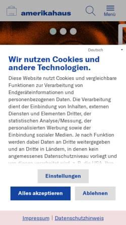 Vorschau der mobilen Webseite www.amerikahaus.de, Stiftung Bayerisches Amerikahaus gGmbH