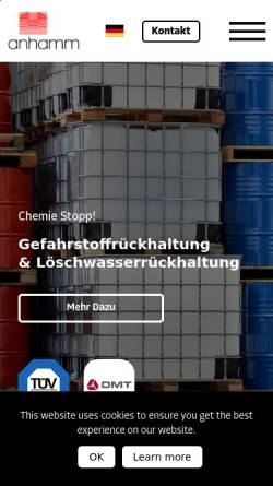 Vorschau der mobilen Webseite www.rueckhaltesysteme.de, Anhamm Behälterbau-, Stahl- & Apparatebau, Inh. Helmut Anhamm