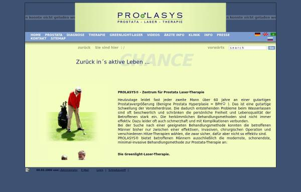 Vorschau von prolasys.punapau.dyndns.org, Prolasys - Zentrum für Prostata Laser-Therapie