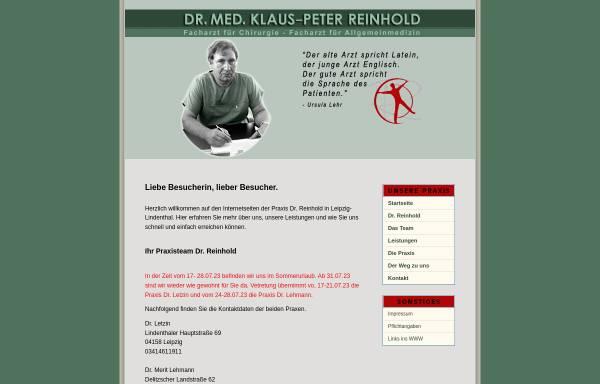 Vorschau von www.praxis-reinhold.de, Reinhold, Dr. med. Klaus-Peter