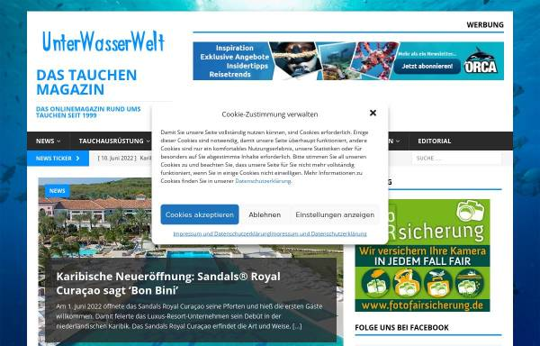 Vorschau von www.unterwasserwelt.de, Unterwasserwelt