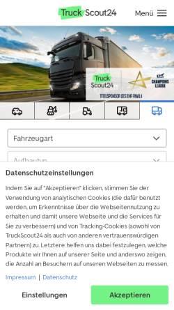 Vorschau der mobilen Webseite www.truckscout24.de, TruckScout24 GmbH