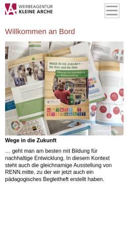 Vorschau der mobilen Webseite www.kleinearche.de, Werbeagentur und Verlag Kleine Arche