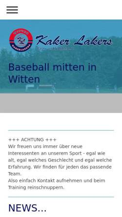 Vorschau der mobilen Webseite witten-kakerlakers.de, Baseballverein Witten KakerLakers 1992 e.V.