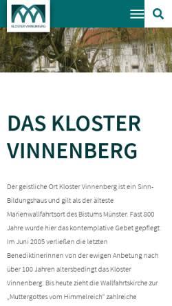 Vorschau der mobilen Webseite www.kloster-vinnenberg.de, Kloster Vinnenberg
