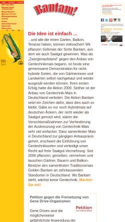 Vorschau der mobilen Webseite www.bantam-mais.de, Aktion Bantam-Mais