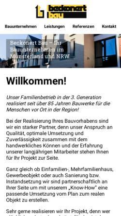 Vorschau der mobilen Webseite www.beckonert-bau.de, Beckonert Bau GmbH & Co. KG