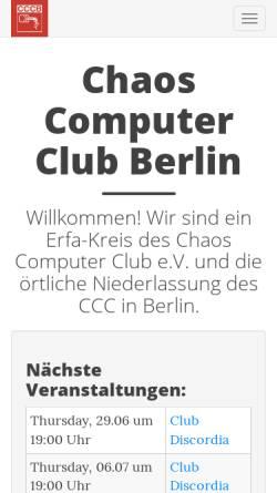 Vorschau der mobilen Webseite berlin.ccc.de, Chaos Computer Club Berlin e.V. (CCCB)