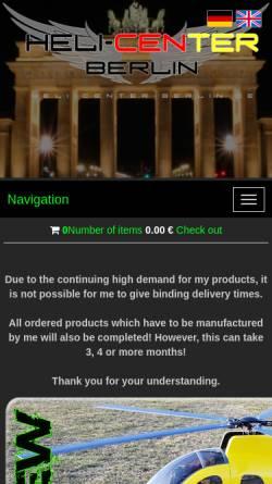 Vorschau der mobilen Webseite www.heli-center-berlin.de, Modellhubschrauber & Modellbau Patrick Magnus