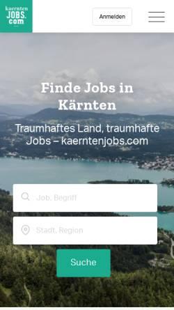 Vorschau der mobilen Webseite www.kaerntenjobs.com, Kärntner regional Jobbörse