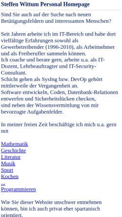 Vorschau der mobilen Webseite www.ataraxis.de, Steffen Wittum Soft- und Hardware
