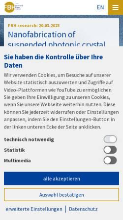 Vorschau der mobilen Webseite www.fbh-berlin.de, Ferdinand-Braun-Institut für Höchstfrequenztechnik