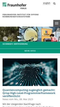 Vorschau der mobilen Webseite www.fokus.fraunhofer.de, Fraunhofer Institut für Offene Kommunikationssysteme FOKUS