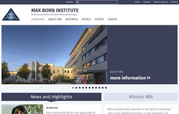 Vorschau von mbi-berlin.de, Max-Born-Institut Berlin (MBI)